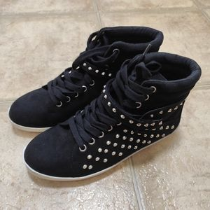 Forever 21 Suede Studded High Top Sneakers